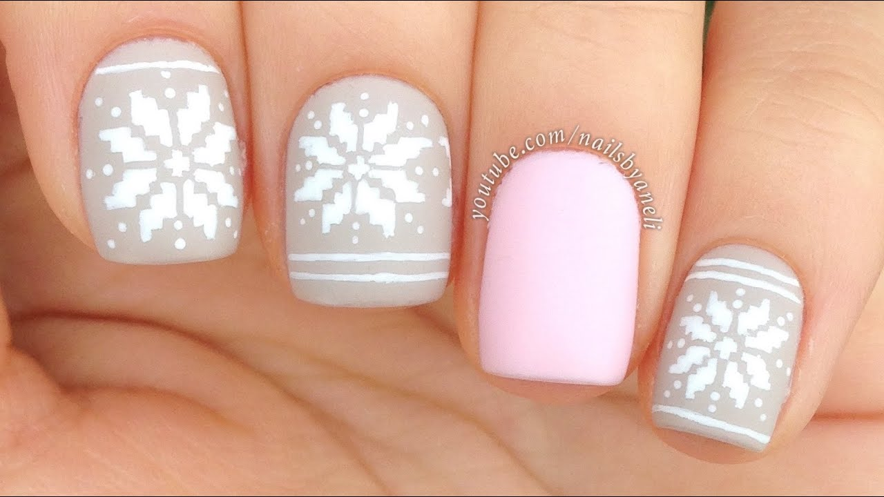 Nail Art Tutorial: Cute Winter Sweater / Fair Isle Print - YouTube