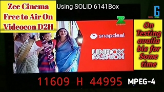 zee cinema free to air on videocon d2h 88e