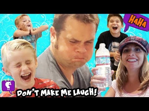 DON'T MAKE ME LAUGH! CHALLENGE with WATER in Mouth + Funny Family Fun HobbyKidsTV