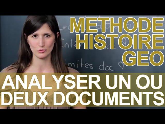 Analyser Un Ou Deux Documents La Methode Histoire Geographie Les Bons Profs Youtube