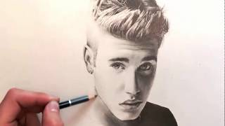 How to Draw Justin Bieber   step by step drawnig   Art TV