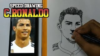Drawing Cristiano Ronaldo - Menggambar CR7   Speed Drawing