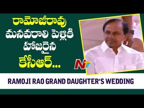 CM KCR Attends Ramoji Rao Grand Daughter&39;s Wedding  NTV