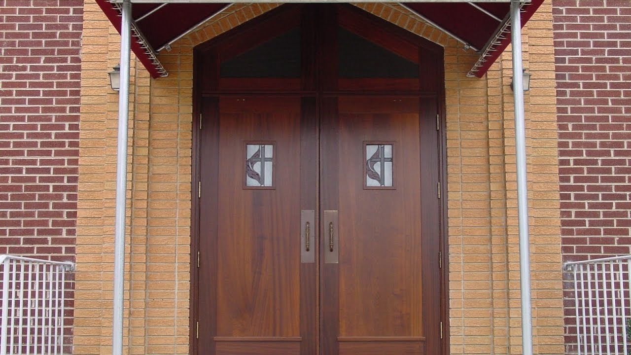 Wooden double doors exterior design for home youtube for Double door designs for home