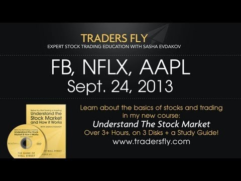 FB Facebook Trading Stock - Also AAPL and NFLX Trades - Sept 24, 2013