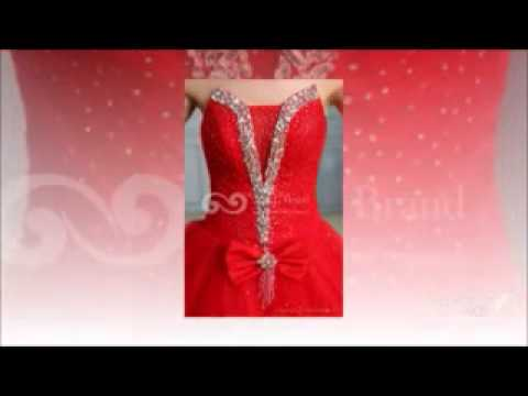 Floor-length Red Ball Gown Wedding Dress at G&G