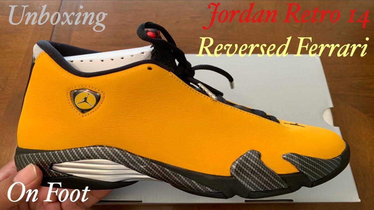 big sale 78ad5 cf7c7 Jordan Retro 14 Reversed Ferrari Unboxing, Detailed Review, On Foot. Jordan  Retro 14 University Gold