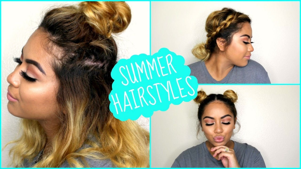 3 quick & easy hairstyles for short-medium length hair! // summer hairstyles | 2016