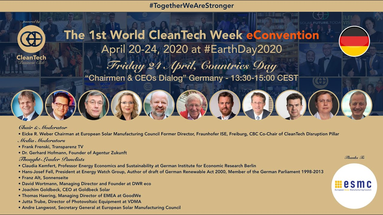 #CleanTech Chairmen & CEOs Dialog #Germany at The 1st World CleanTech Week eConvention #1stWCWeC