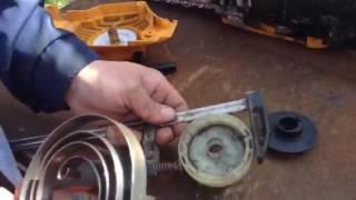Как вставить пружину в стартёр бензопилы