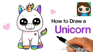 Follow along to learn how to draw a cute Baby Unicorn easy, step by...