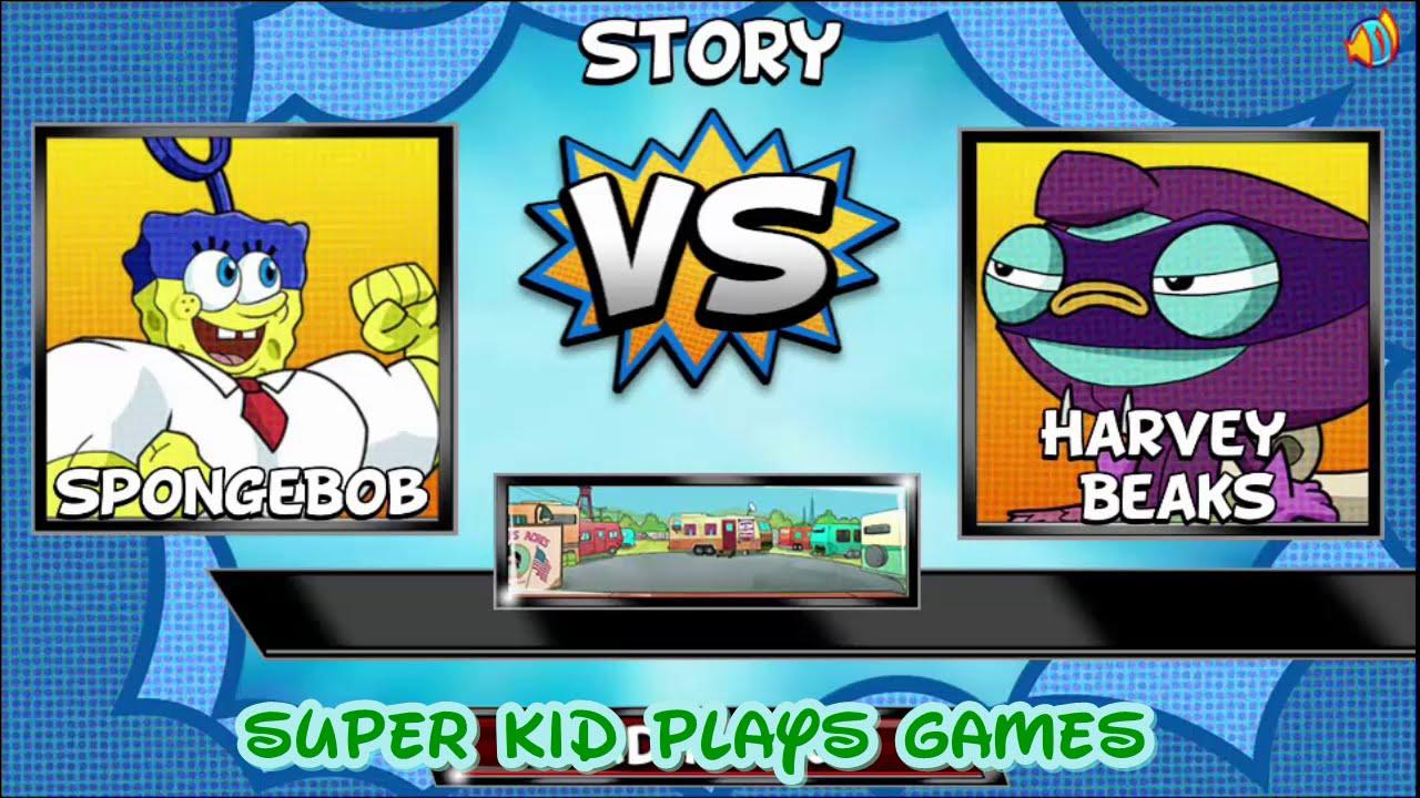 Super Brawl 4 – SpongeBob SquarePans vs Harvey Beaks – Cartoon Movie Game 2015 HD