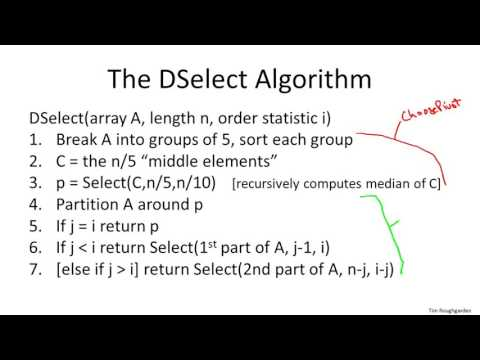 8   3   Deterministic Selection   Algorithm Advanced   Optional 17 min