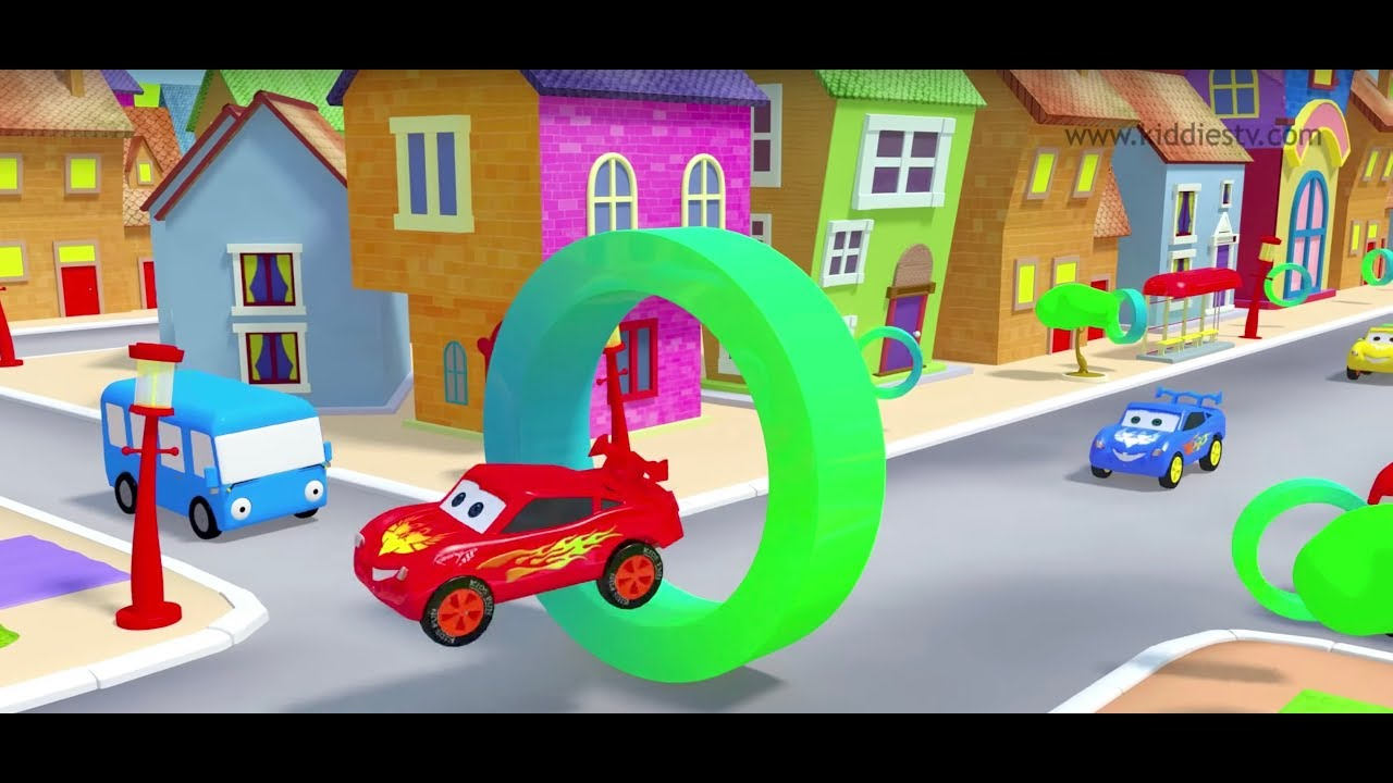 Shapes song with cars | wheels on the bus | kindergarten | preschool ...