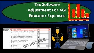 Tax Software Example - Educator Expenses Adjustment For AGI - Income Tax 2018 2019