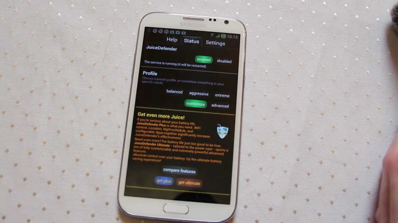 Juice Defender Android Battery Saver Samsung Galaxy Note 2 or S3 -  Androidizen