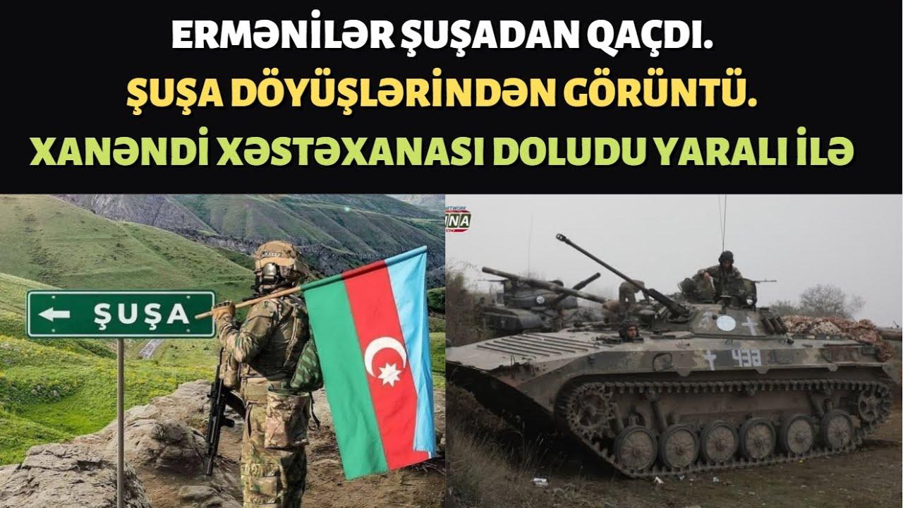 Ermənilər Şuşadan Xankəndinə qaçdılar. Şuşa döyüşləri görüntüsü. Şuşada Azərbaycan bayrağı