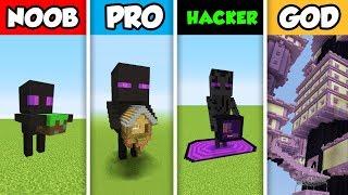 Minecraft NOOB vs. PRO vs. HACKER vs GOD : ENDERMAN PORTAL HOUSE BUILD CHALLENGE in Minecraft!