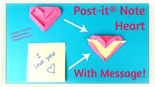 Valentine's Day Crafts - Origami Bookmark - Post-it® Note Heart with Message - Paper Crafts