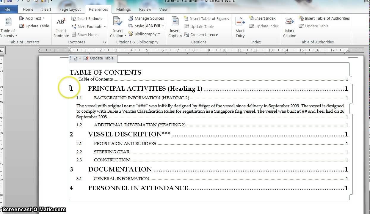 Edit table of contents word font download
