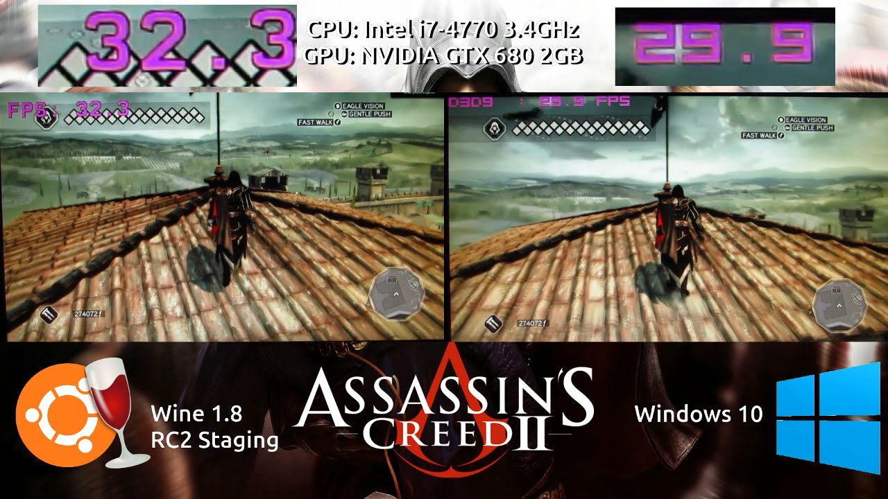 Wine VS Windows : Assassins Creed 2 Benchmark with a GTX 680