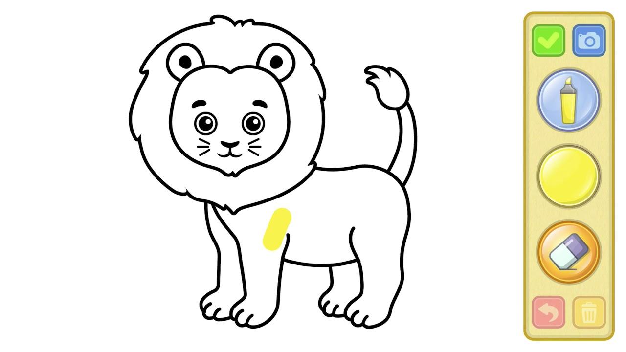 تعليم التلوين للأطفال أسد لطيف Drawing And Coloring For Kids
