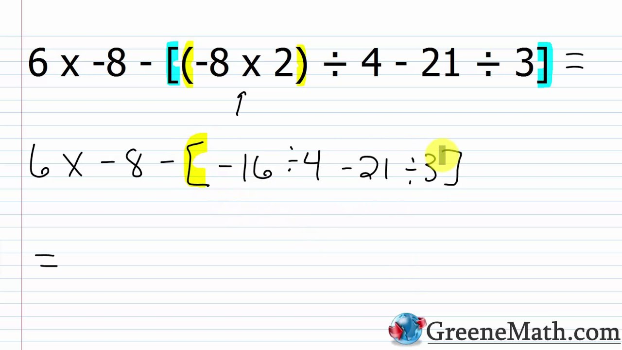 hight resolution of The Order of Operations with Integers - YouTube