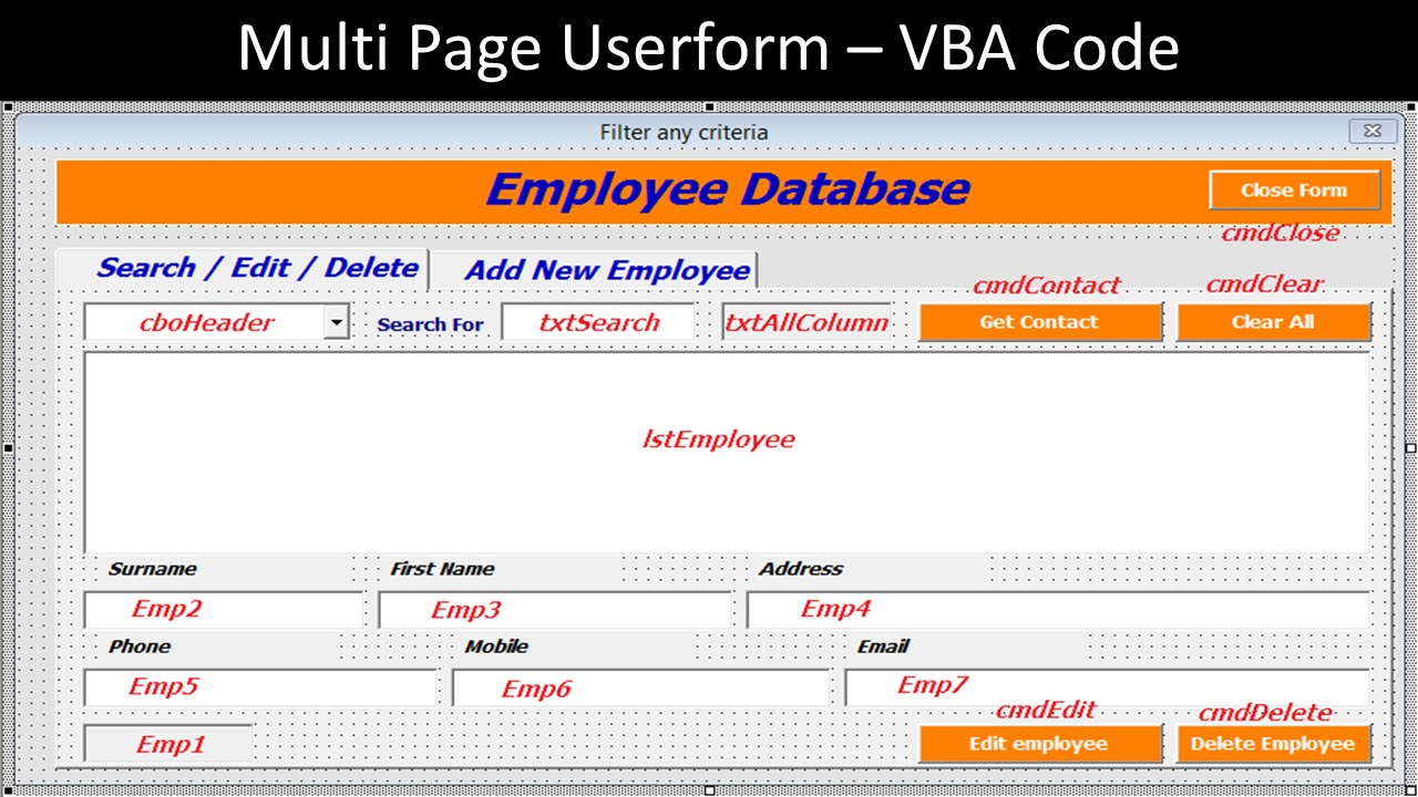Multi Page Userform Vba Code For The Employee Database