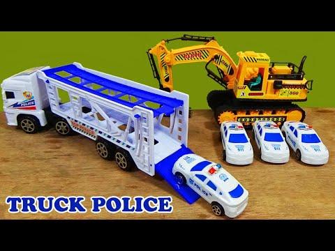 Mainan Anak Mobil-mobilan Unboxing Mobil Truk Polisi Dan 4 Mobil Polisi Mini