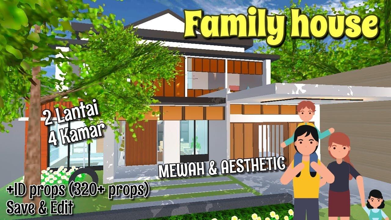Review FAMILY HOUSE (Rumah Keluarga) 2 LANTAI 4 KAMAR, MEWAH EUYY!! + ID   Sakura School Simulator