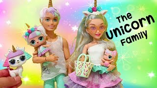 Barbie LOL Families ! The Unicorn Family Pet Prank | Toys and Dolls Fun Pretend Play for Kids