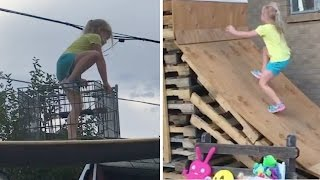 5-Year-Old Takes American Ninja Warrior Course Made By Dad! | What's Trending Now