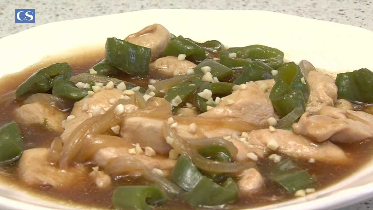 receta pechuga de pollo pimientos verdes