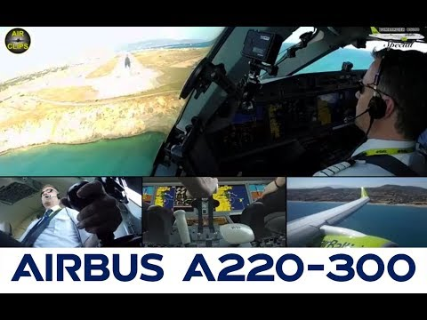 STUNNING Bombardier CS300 Heraklion steep landing from Captain's perspective! [AirClips]