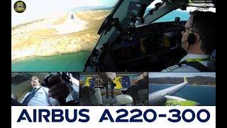 STUNNING Bombardier CS300 Heraklion steep landing from Captain