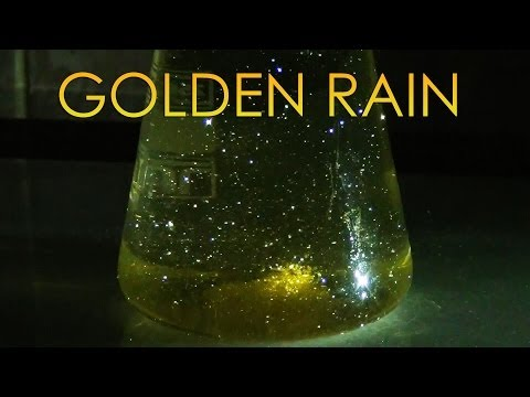Golden Rain - Growing crystals of lead iodide. Chemical reaction.