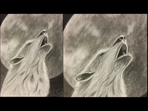 wolf howling at moon drawing tutorial youtube