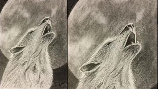 Wolf Howling at Moon Drawing Tutorial