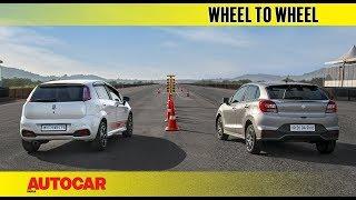 Drag Race : Fiat Abarth Punto vs Maruti Baleno RS | Autocar India Video