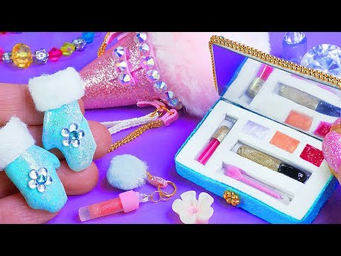 7 Barbie Hacks and Crafts! ~ Barbie Frozen mittens, Ice Cream bag, Cosmetics REALLY WORKS