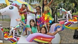 YAYA'S UNICORN BIRTHDAY PARTY AND WATER PARK VLOG