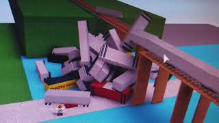 Roblox train crashes on a broken trestle