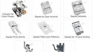 Conjunto de Calcadores e Sapatas de Costura Domésticas, 8 Itens
