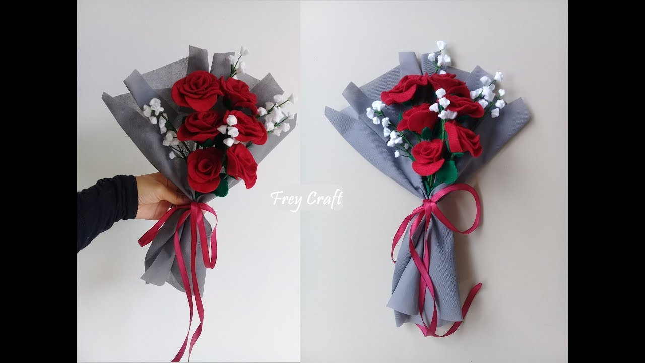 Diy Felt Flower Bouquet Tutorial Tutorial Membuat Buket Bunga Dari Kain Flanel Youtube