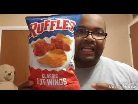 Big E tries out Ruffles Hot Wing flavor...
