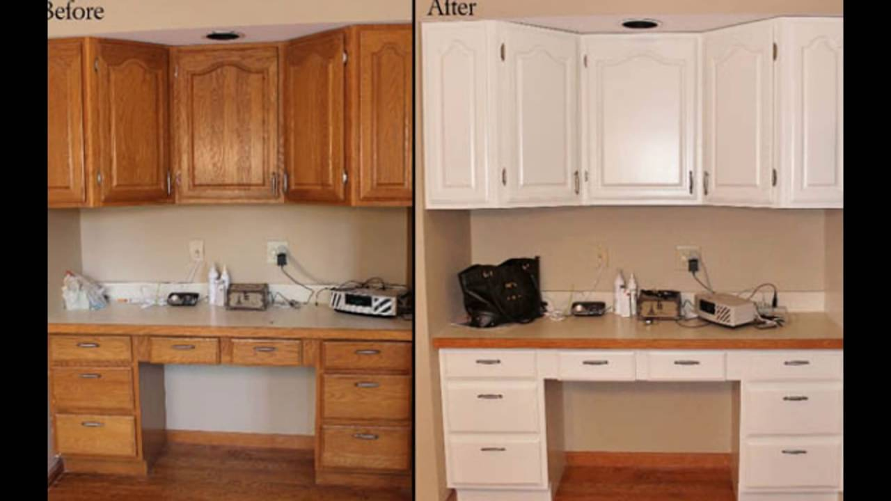 Painting wooden kitchen cupboards youtube for Painting wood cabinets white before and after