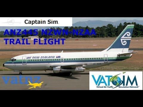 FSX VATSIM NZWN-NZAA ANZ445 CAPTAIN SIM BOEING 737-200 ANZ RETRO TEST FLIGHT