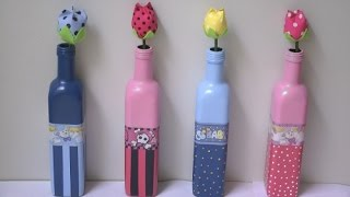 Garrafa decorada para quarto infantil