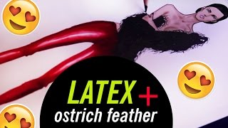 LATEX LEGGINGS AND OSTRICH FEATHER SCARF | Fashion Drawing