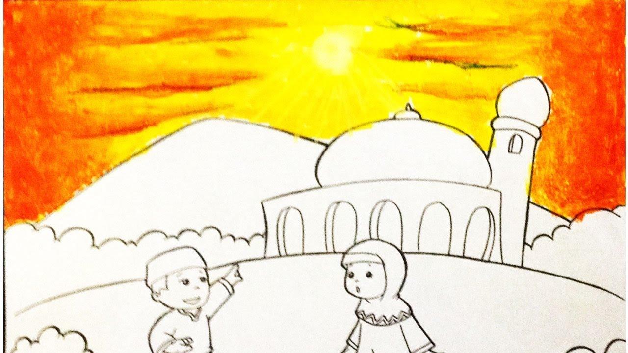 Cara Mewarnai Langit Merah Sore Khusus Paud Menggunakan Crayon Youtube